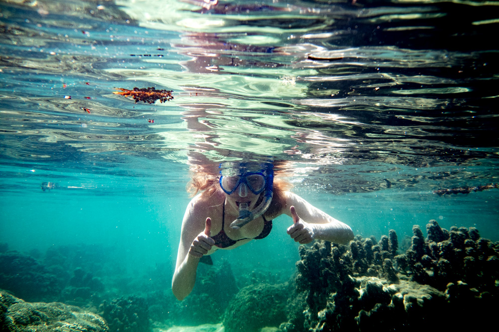 Snorkelling off the motu at Raiatea, French Polynesia